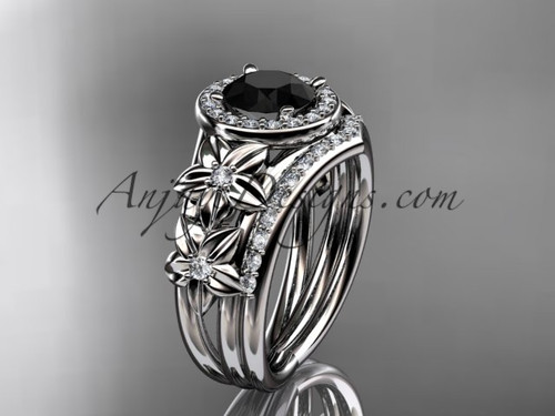Platinum Halo Ring, Black Diamond Flower Bridal Set ADLR131S