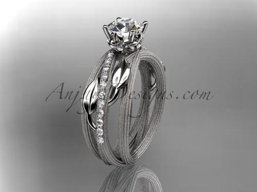 "14kt white gold diamond leaf and vine wedding ring, engagement ring a ""Forever One"" Moissanite center stone ADLR329"