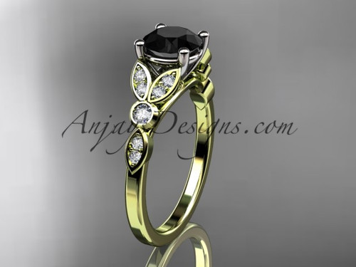 14k yellow gold unique engagement ring, wedding ring with a Black Diamond center stone ADLR387