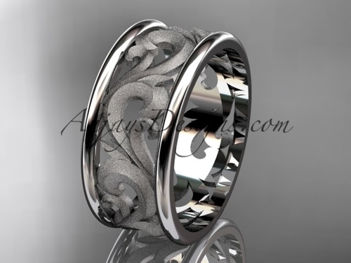 Wedding Bands, White Gold Vintage Engagement Ring ADLR121G