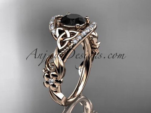 14kt rose gold diamond celtic trinity knot wedding ring, engagement ring with a Black Diamond center stone CT7211