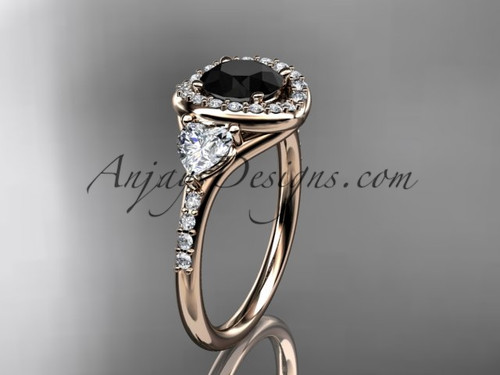 14kt rose gold diamond unique engagement ring,wedding ring with a Black Diamond center stone ADLR201