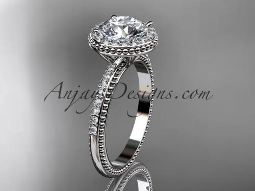 14kt white gold diamond unique engagement ring,  wedding ring ADER95