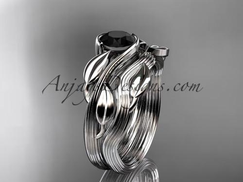 platinum leaf and vine wedding ring, engagement set with a Black Diamond center stone ADLR273S