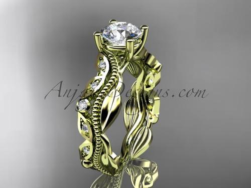 Yellow Gold Unique Leaf Design Engagement Ring ADLR342
