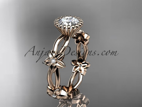 "14k rose gold diamond leaf and vine wedding ring,engagement ring with a ""Forever One"" Moissanite center stone ADLR19D"