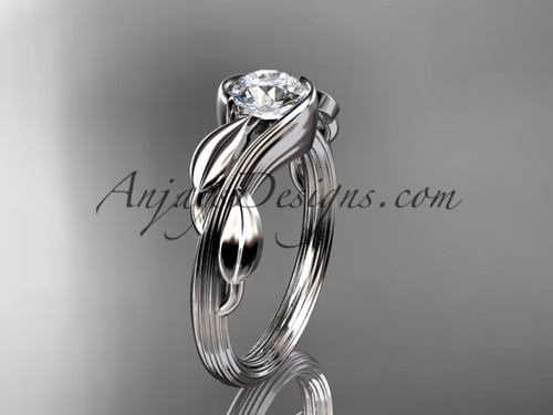Moissanite Leaf Engagement Ring 14kt White Gold ADLR273