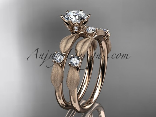 "14kt rose gold diamond unique leaf and vine engagement set, wedding set with a ""Forever One"" Moissanite center stone ADER177S"