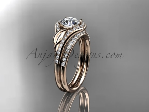 "14kt rose gold diamond leaf wedding set, engagement set with a ""Forever One"" Moissanite center stone ADLR334"