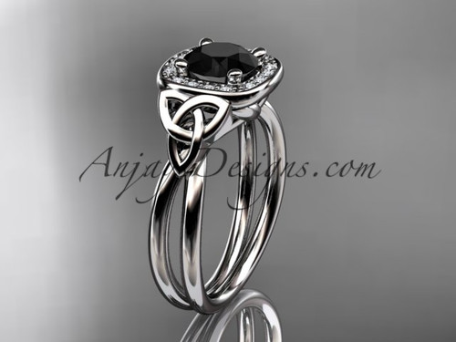 14kt white gold black diamond celtic engagement ring CT7330