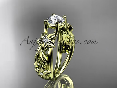 Flower Engagement Ring 14kt Yellow Gold Bridal Ring ADLR216