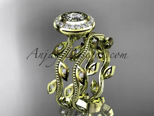14k yellow gold diamond leaf and vine wedding ring, engagement ring, engagement set ADLR212S