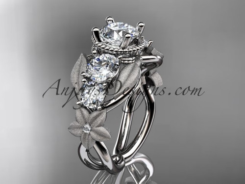 """14kt white gold diamond floral, leaf and vine wedding ring, engagement ring with  """"Forever One"""" Moissanite center stone ADLR69"""