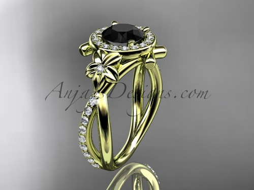14kt yellow gold diamond leaf and vine wedding ring, engagement ring with a  Black Diamond center stone ADLR89