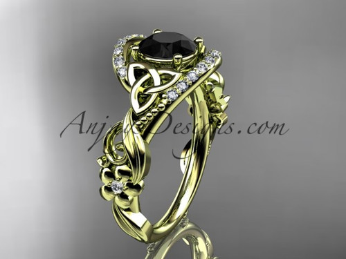 14kt yellow gold diamond celtic trinity knot wedding ring, engagement ring with a Black Diamond center stone CT7211