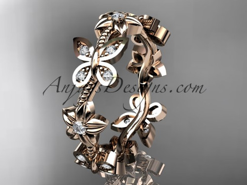 14kt rose gold diamond floral butterfly wedding ring, engagement ring, wedding band ADLR139B