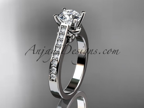 """14kt white gold diamond unique engagement ring, wedding ring with a """"Forever One"""" Moissanite center stone ADER134"""
