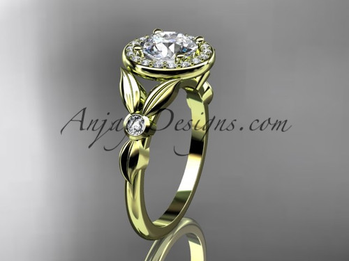 """14kt yellow gold diamond floral wedding ring, engagement ring with a """"Forever One"""" Moissanite center stone ADLR129"""