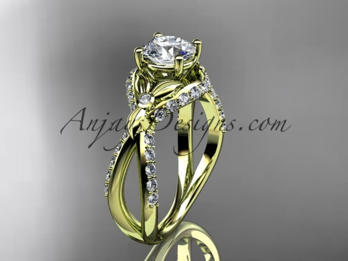 Moissanite Engagement Rings, Yellow Gold Perfect Art Deco Marriage Ring ADLR218