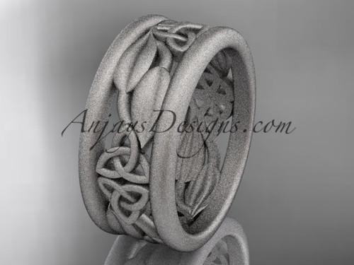 platinum celtic trinity knot matte finish wedding band, engagement ring CT7293GA