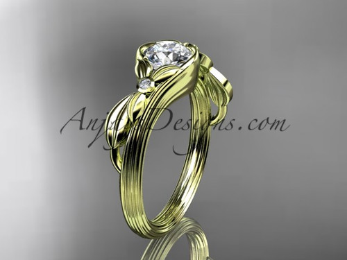 Unique 14kt yellow gold floral engagement ring ADLR324