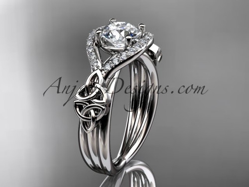"""14kt white gold celtic trinity knot engagement ring ,diamond wedding ring with """"Forever One"""" Moissanite center stone CT785"""