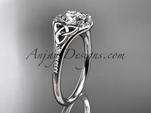 """14kt white gold diamond celtic trinity knot wedding ring, engagement ring with a """"Forever One"""" Moissanite center stone CT7126"""