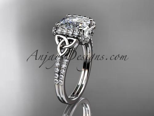 platinum diamond celtic trinity knot wedding ring, engagement ring with Cushion Cut Moissanite CT7148