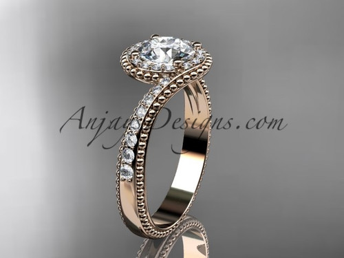 """14kt rose gold halo diamond engagement ring with a """"Forever One"""" Moissanite center stone ADLR379"""