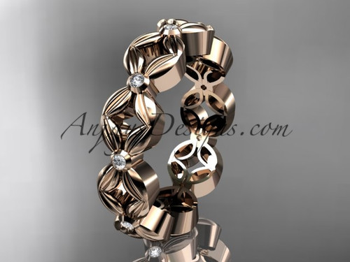 14kt rose gold diamond flower wedding ring,engagement ring,wedding band ADLR18A
