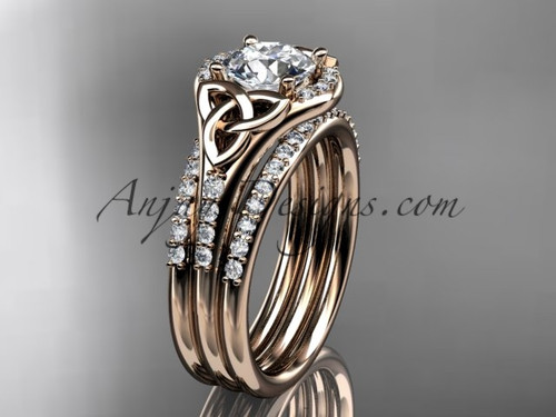 "14kt rose gold diamond celtic trinity knot wedding ring, engagement ring with a ""Forever One"" Moissanite center stone and double matching band CT7126S"