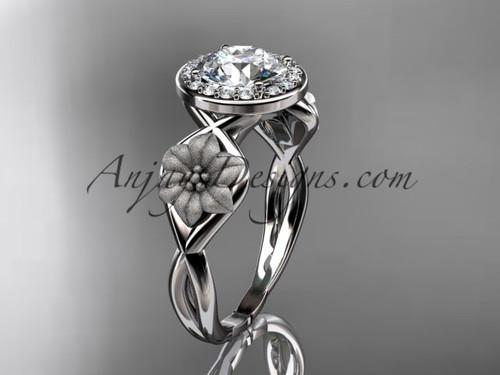 Unique 14kt white gold diamond flower wedding ring, engagement ring ADLR219
