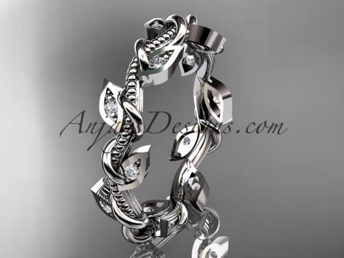 14kt white gold diamond leaf and vine wedding ring, engagement ring, wedding band ADLR79