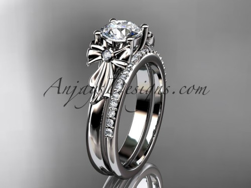 "14kt white gold diamond unique engagement set, wedding ring with a ""Forever One"" Moissanite center stone ADER154S"