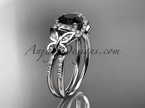 14kt white gold diamond butterfly wedding ring, engagement ring with a Black Diamond center stone ADLR141