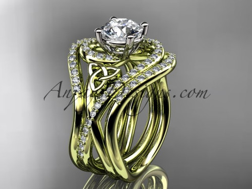 14kt yellow gold diamond celtic trinity knot wedding ring, engagement ring with double matching band CT7320S