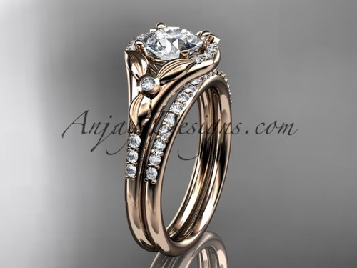 "14kt rose gold diamond floral wedding ring, engagement set with a ""Forever One"" Moissanite center stone ADLR126S"