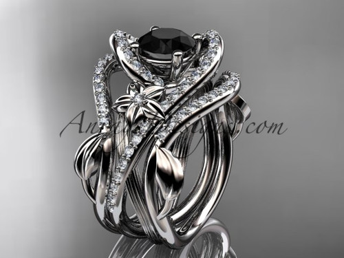 14kt white gold diamond leaf and vine engagement ring with  Black Diamond center stone and double matching band ADLR369S