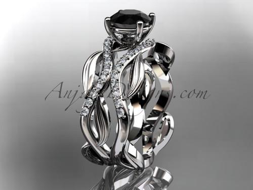 14kt white gold diamond leaf and vine wedding set, engagement set with a Black Diamond center stone ADLR264S