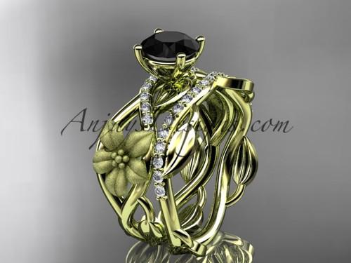 Leaf Wedding Ring Yellow Gold Flower Bridal Set ADLR270S