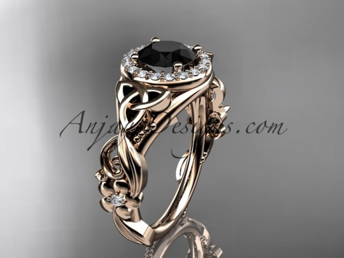 Rose Gold Black Diamond Flower & Celtic Wedding Ring CT7300