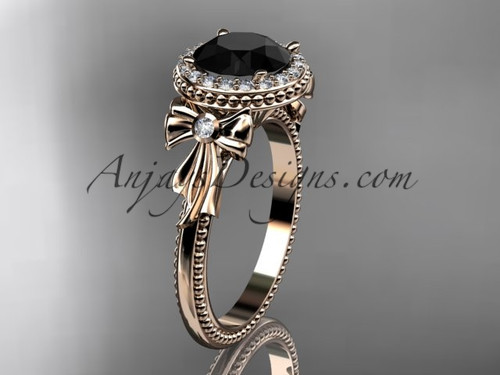 14kt rose gold diamond unique engagement ring, wedding ring with a Black Diamond center stone ADER157