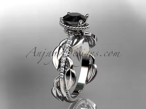 Black Diamond leaf engagement ring Platinum Ring Design for Female ADLR231