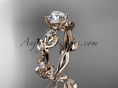 "14kt rose gold diamond leaf and vine wedding ring, engagement ring with  ""Forever One"" Moissanite center stone ADLR59"