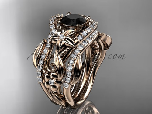 14kt rose gold diamond leaf and vine engagement ring with  Black Diamond center stone and double matching band ADLR211S