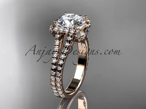 """14kt rose gold diamond unique engagement ring, wedding ring with a """"Forever One"""" Moissanite center stone ADER107"""