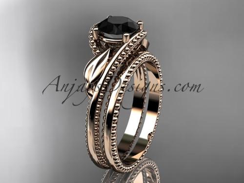 Unique Engagement Ring Rose Gold Black Diamond Ring ADLR322S