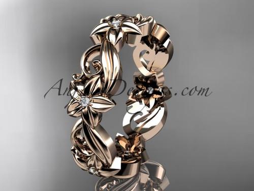 14kt rose gold diamond flower wedding ring, engagement ring, wedding band ADLR217B