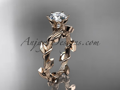 Sapphire Wedding Ring with Leaves, Rose Gold Bridal Ring ADLR248