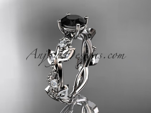 platinum diamond leaf and vine wedding ring, engagement ring with  Black Diamond center stone ADLR59